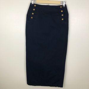 Lauren Ralph Lauren Sailor Buttons Pencil Skirt